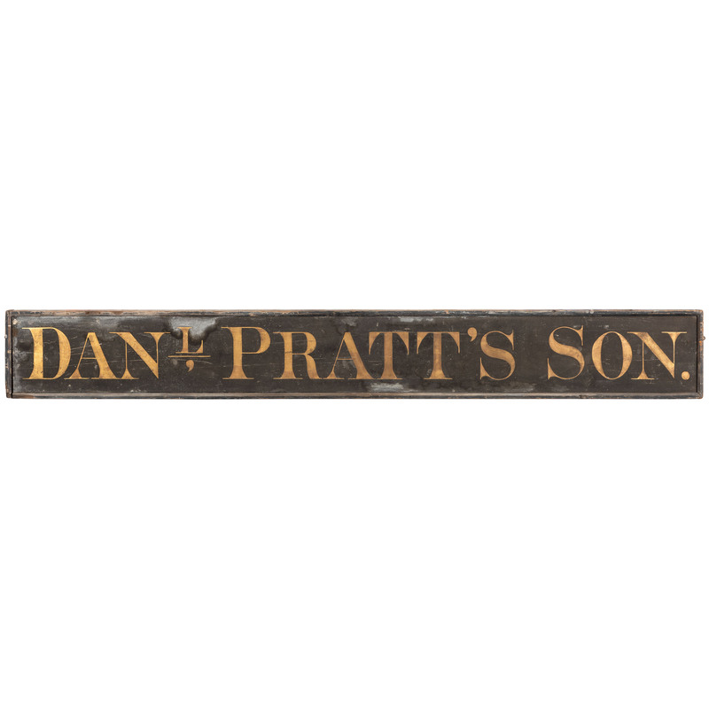 A Painted Wood Trade Sign for Dan'L Pratt's Son