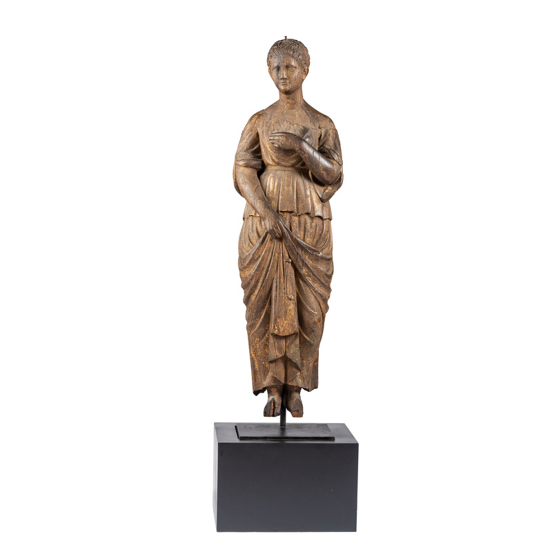 A Rare and Important Carved, Painted and Gilded Pine Classical Female Figure