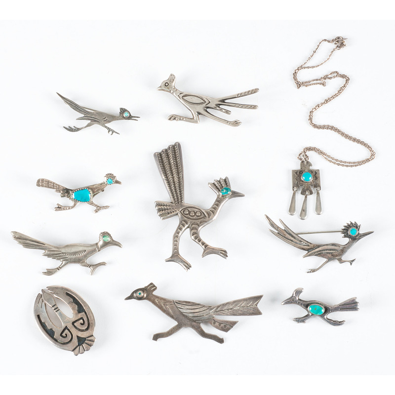 Navajo Silver and Turquoise Bird Pins AND Necklace