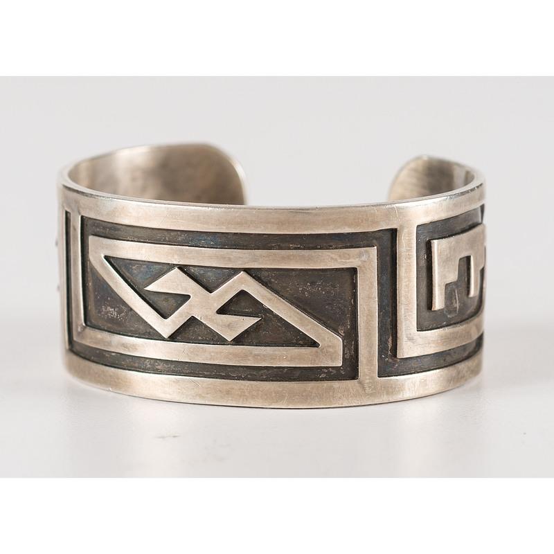 Victor Coochwytewa (Hopi, 1922-2011) Silver Overlay Cuff Bracelet