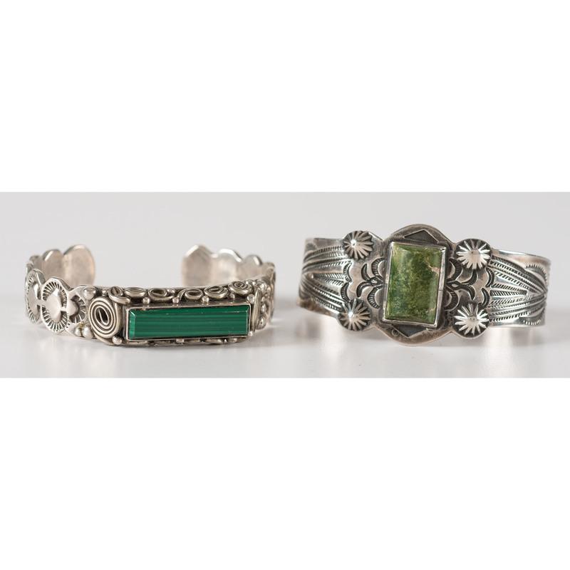 Navajo Silver, Turquoise, and Malachite Cuff Bracelets