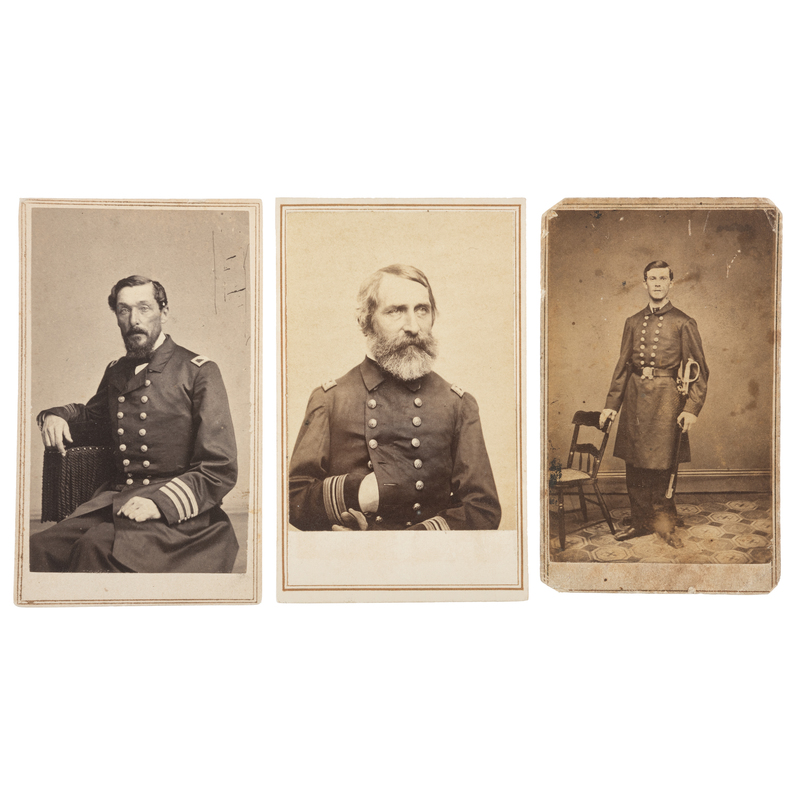 CDVs of Naval Officers, Incl. Percival Drayton, George Prebel, and Nathaniel Jacobs