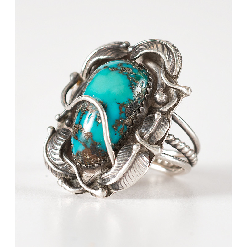 Andy Lee Kirk (Diné / Isleta, 1947-2001) Silver and Turquoise Ring