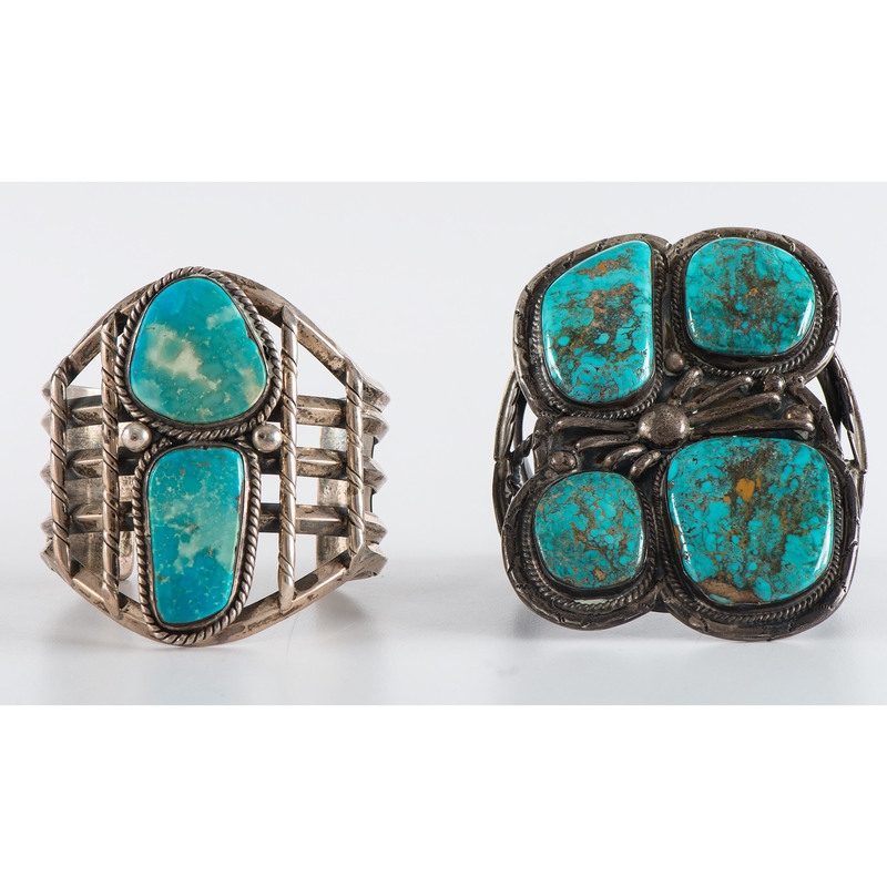 Large Navajo Silver and Turquoise Cuff Bracelets