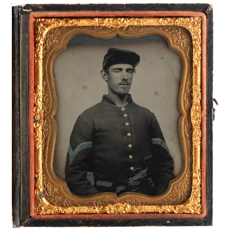 Sixth Plate Tintype of Young Infantry Corporal, Armed with Belted Revolver