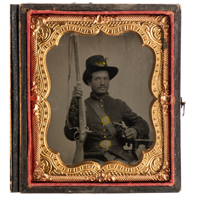 Sixth Plate Tintype of a Double-Armed Infantry Private Wearing a Plumed Hardee Hat