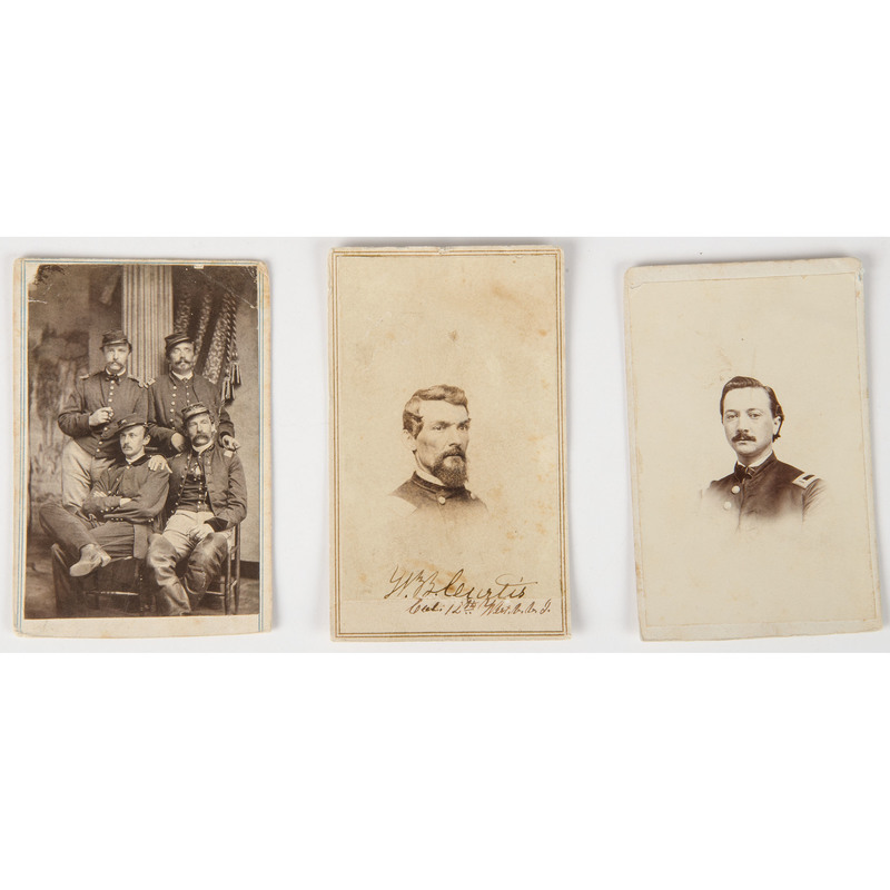 Trio of Civil War CDVs, Incl. Group Shot Showing 1st Lieutenant Alfred VonKleiser, 30th New York Light Artillery, Plus New Jersey and West Virginia Soldiers