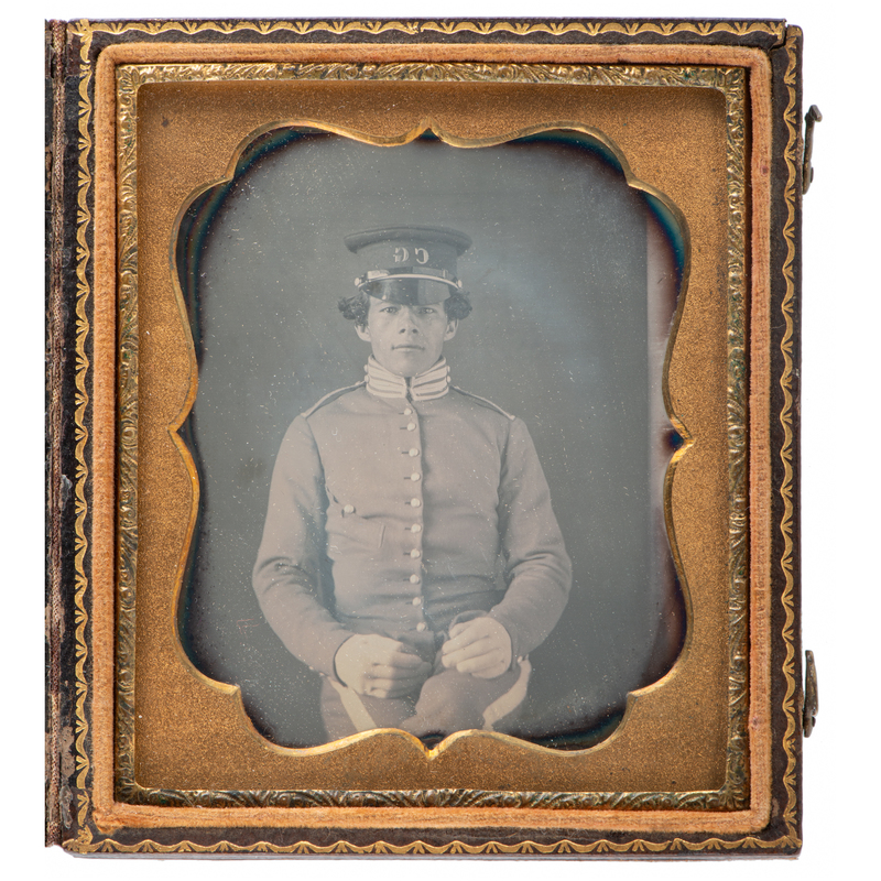 Exceptionally Clear Sixth Plate Daguerreotype of Young Military Cadet