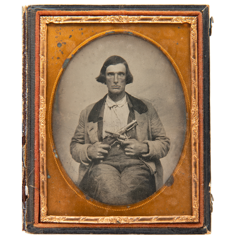 Quarter Plate Ambrotype of Double-Armed Gent, Possibly from the South