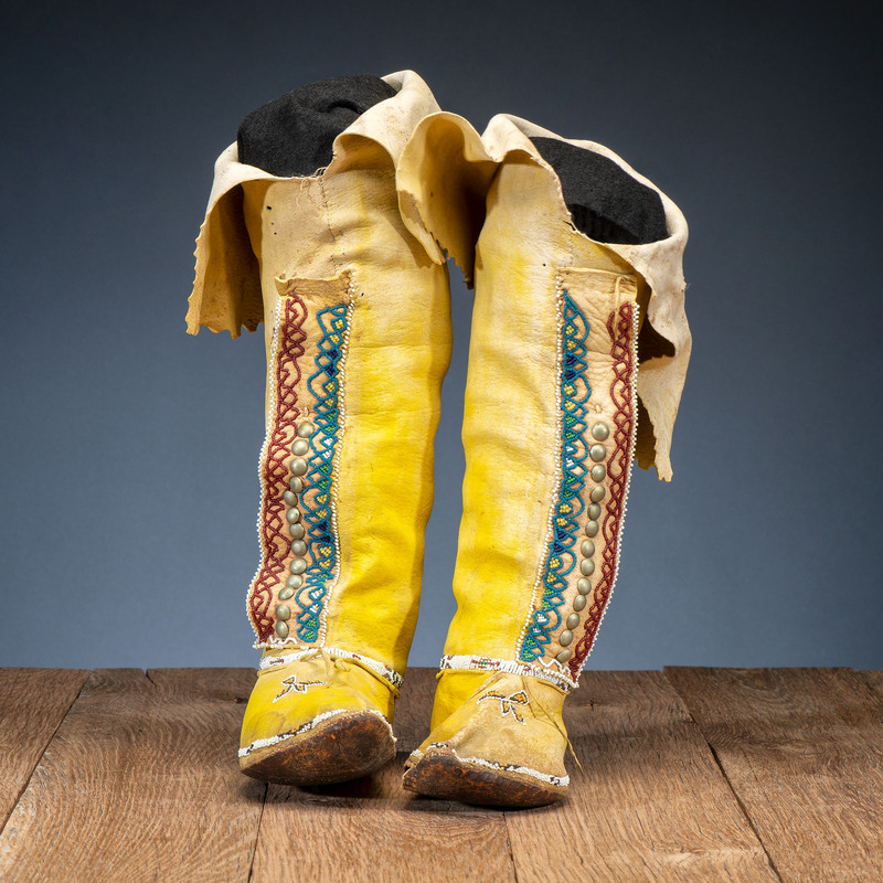 Comanche Beaded Hide Boot Moccasins