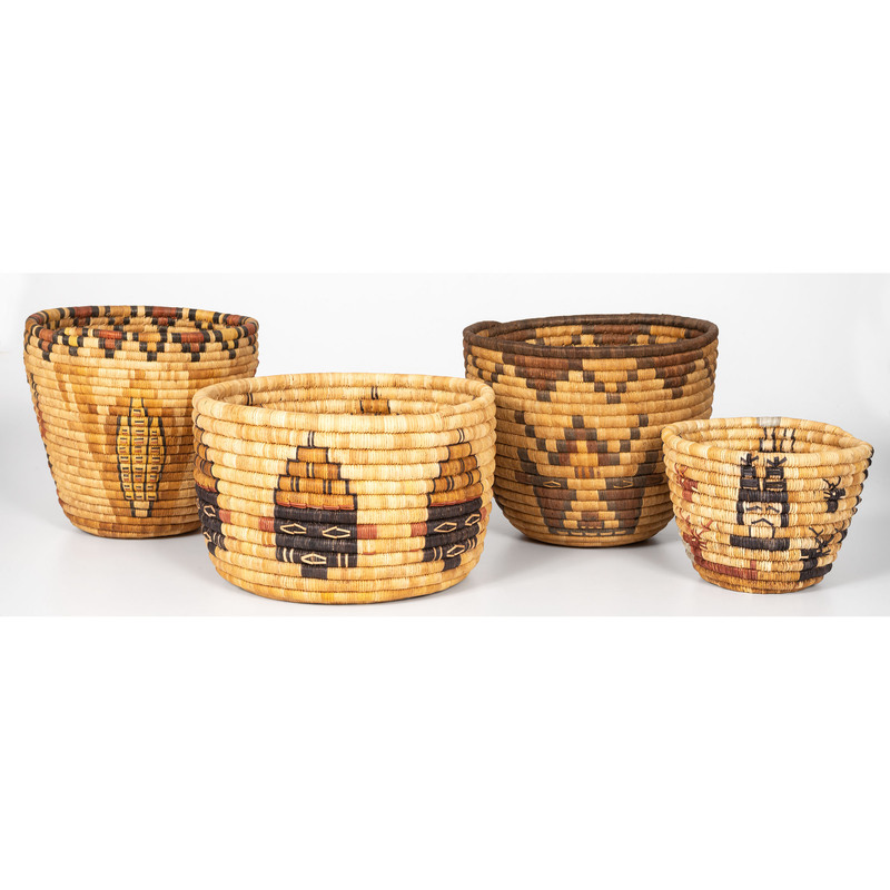 Hopi Second Mesa Baskets, with Figures
