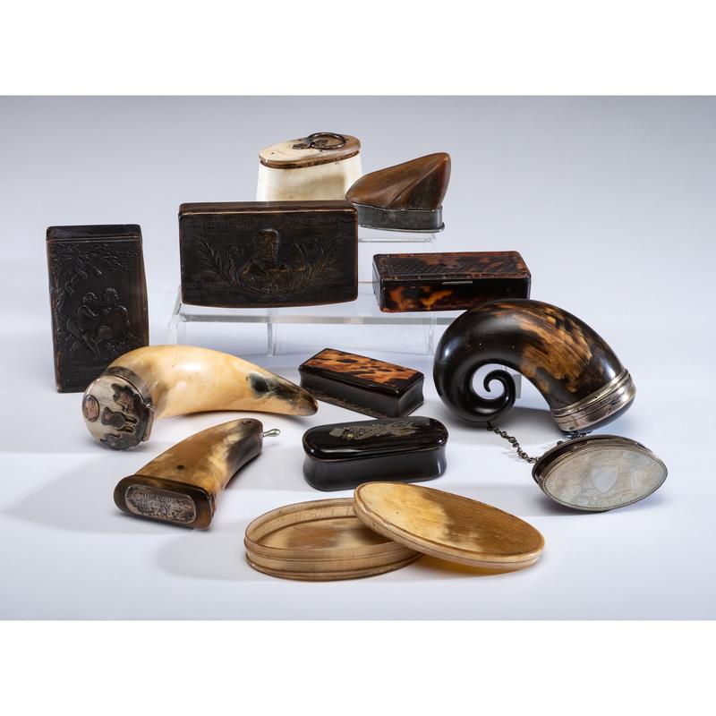 Twelve Horn and Tortoiseshell Boxes