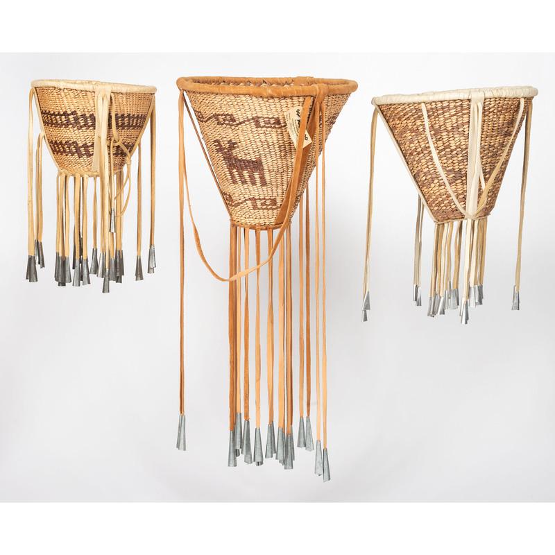 Mary Jane Dudley (San Carlos Apache, 20th century) Figural Burden Basket, PLUS