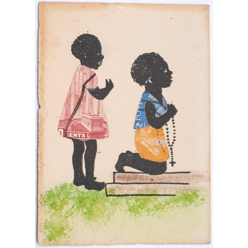 Folk Art Painting of African American Children in Prayer, Ca 1938