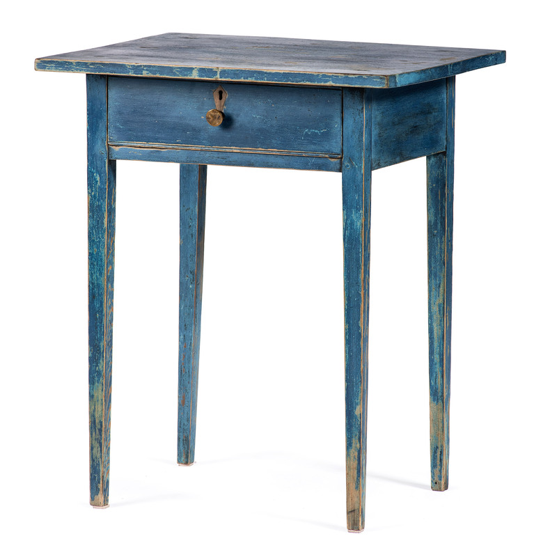 A Hepplewhite Blue Painted One Drawer Stand in Yellow Pine