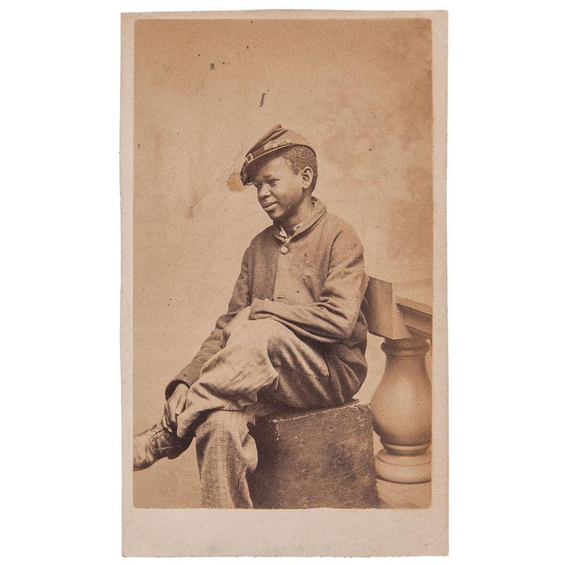 CDV of Seated African American Boy Wearing a Kepi by J.W. Black, Boston, circa 1865