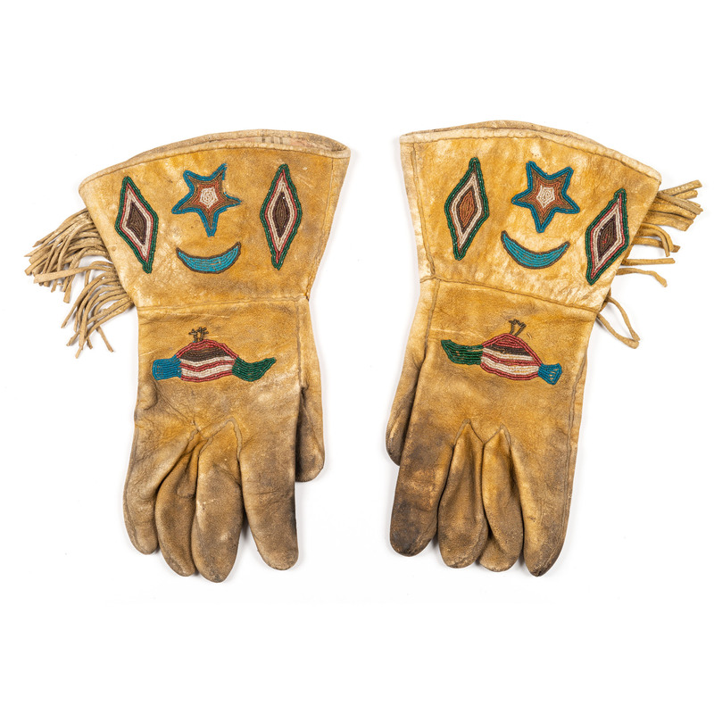 Kiowa Beaded Hide Gauntlets