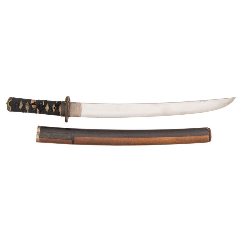 Massive Japanese Samurai Sword (Wakizashi) by Motonaga, Signed and Dated