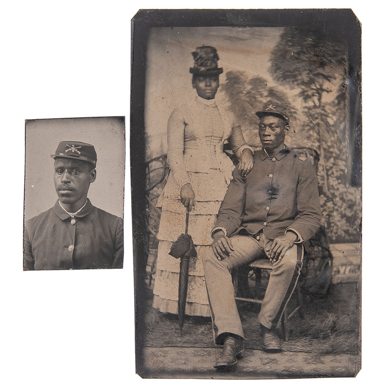 Ninth Cavalry Buffalo Soldiers, Lot of 2 Tintypes