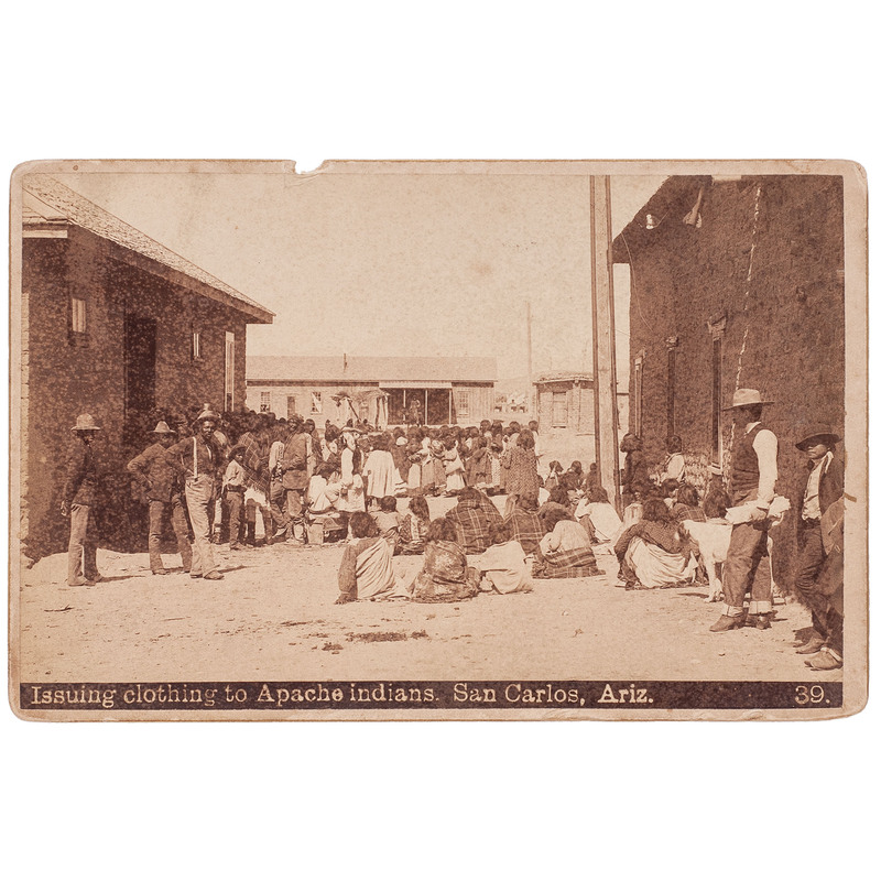 Issuing Clothing to Apache Indians, San Carlos, Ariz. Cabinet Card, circa 1890