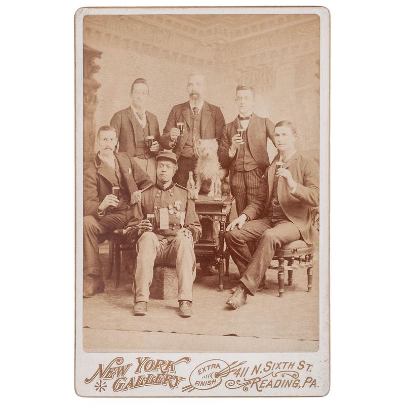 Veterans Toasting Cabinet Card, Reading, Pennsylvania, circa 1880