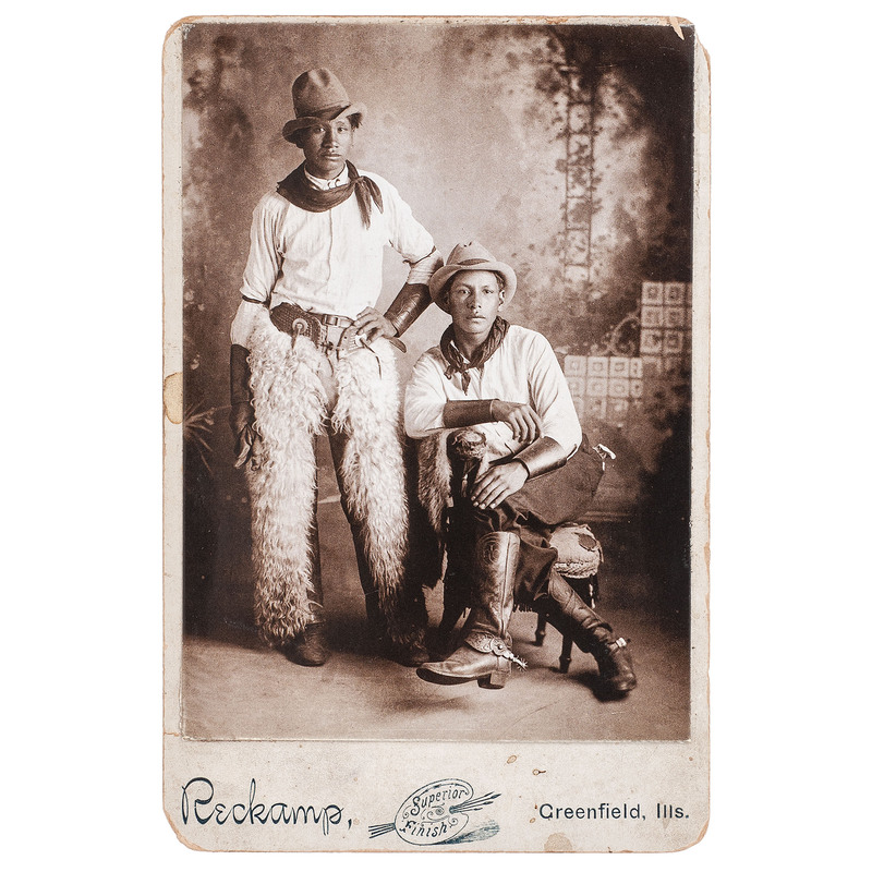 Cabinet Card of Two Cowboys in Chaps, circa 1900
