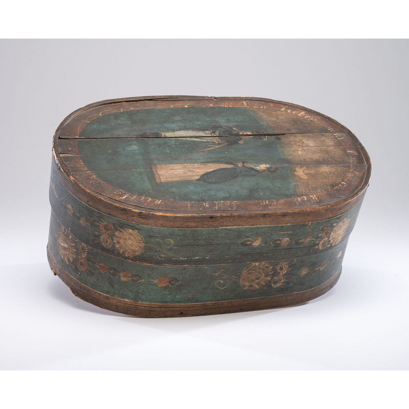 A Painted Bentwood Bride's Box with Soldier