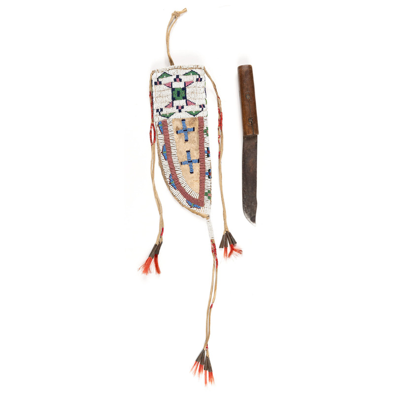 Sioux Beaded Hide Knife Sheath, with Knife