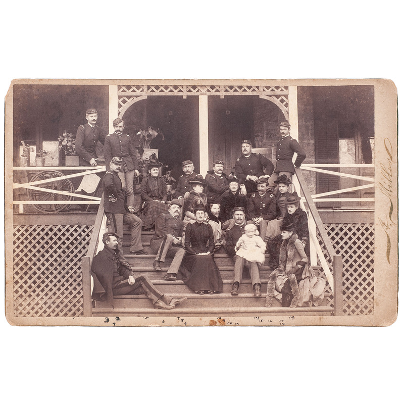 Group of Officers and Ladies, Fort Grant, Arizona Boudoir Card, 1892