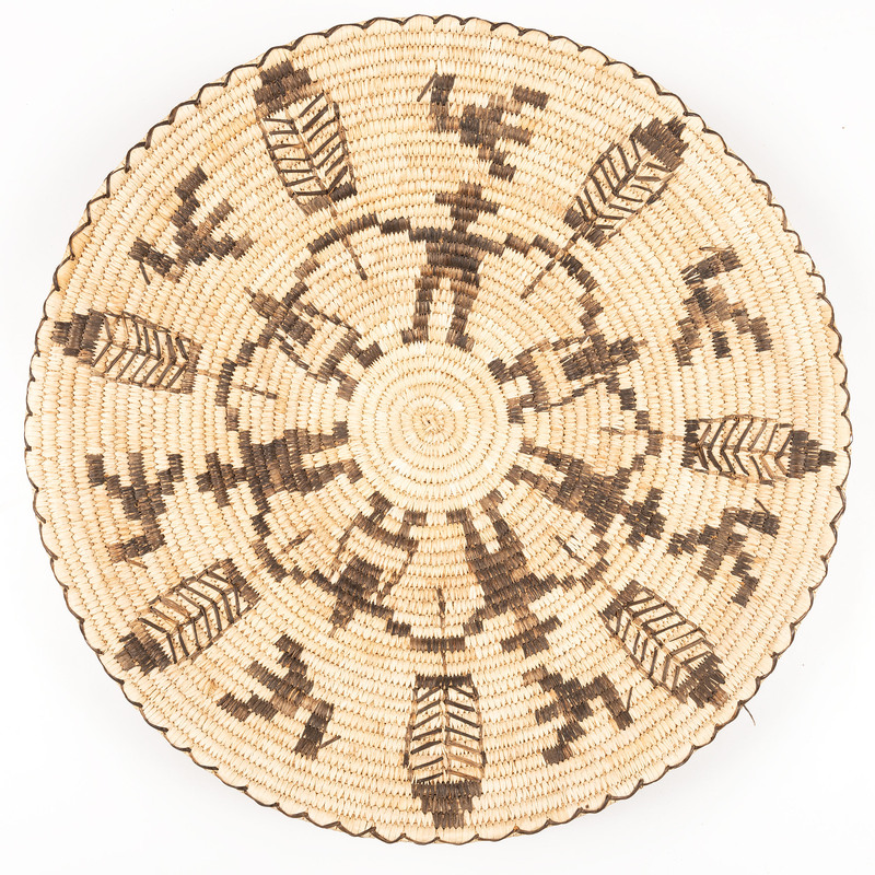 Tohono O'odham Figural Basket, with Birds and Feathers