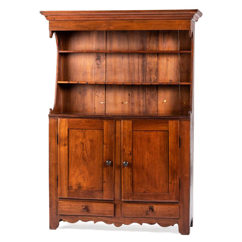 A Walnut Pewter Cupboard