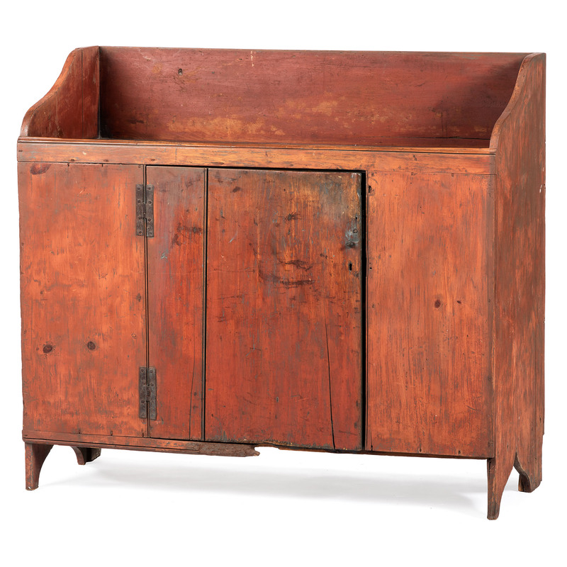 A Red Painted Primitive Dry Sink
