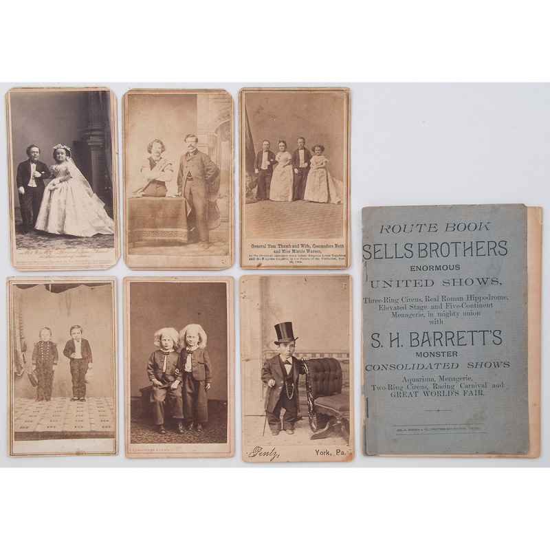 CDVs of Circus and Sideshow Performers, Incl. Eli Bowen and Tom Thumb, Plus Sells Brothers Route Book