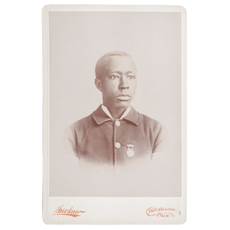 Cabinet Card Vignette of CSU's First African American Graduate and US Army Second Lieutenant Grafton Norman, Fort Collins, Colorado, circa 1896