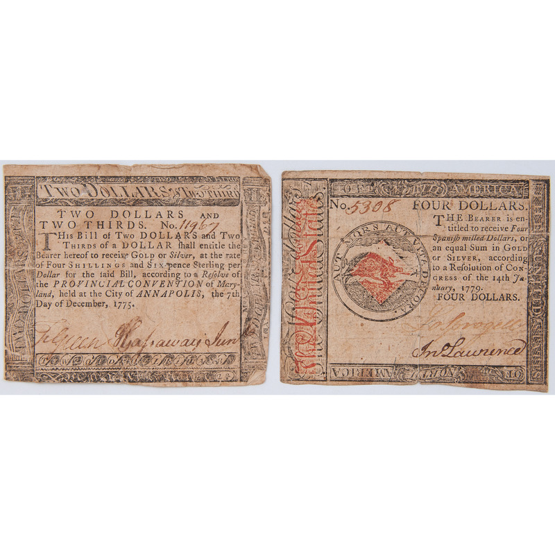 Continental Currency, Two Notes, 1775 and 1779