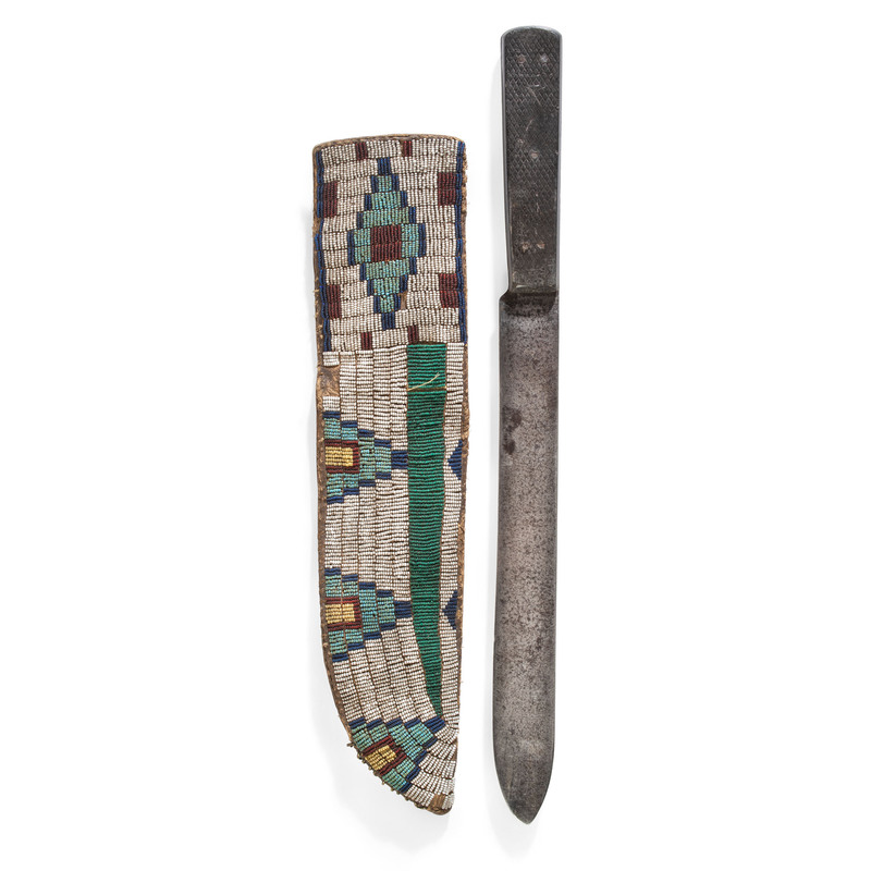 Cheyenne Beaded Buffalo Hide Knife Sheath, From the Collection of Robert Jerich, Illinois