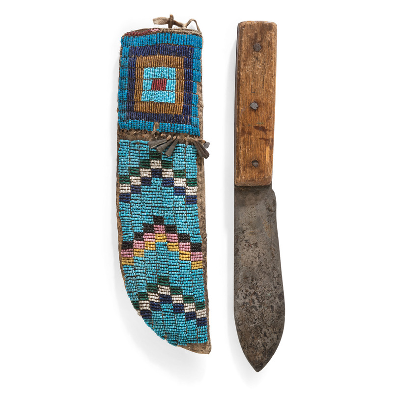 Cheyenne Beaded Knife Sheath, with Knife, From the Collection of Robert Jerich, Illinois