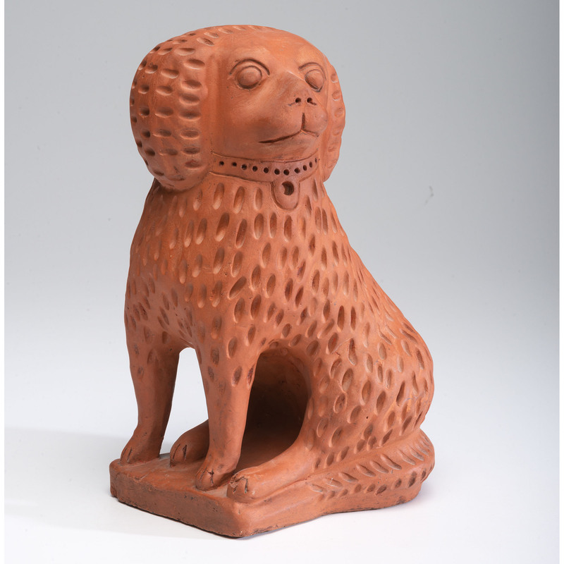 An Ohio Unglazed Redware Bagnall-style Dog