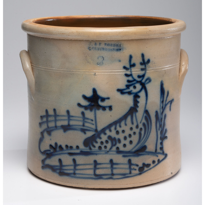 A Norton Stoneware Three-Gallon Crock with Reclining Deer