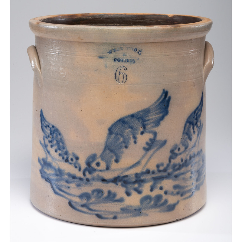 A Rare West Troy, New York Six-Gallon Stoneware Crock with Three Pecking Birds