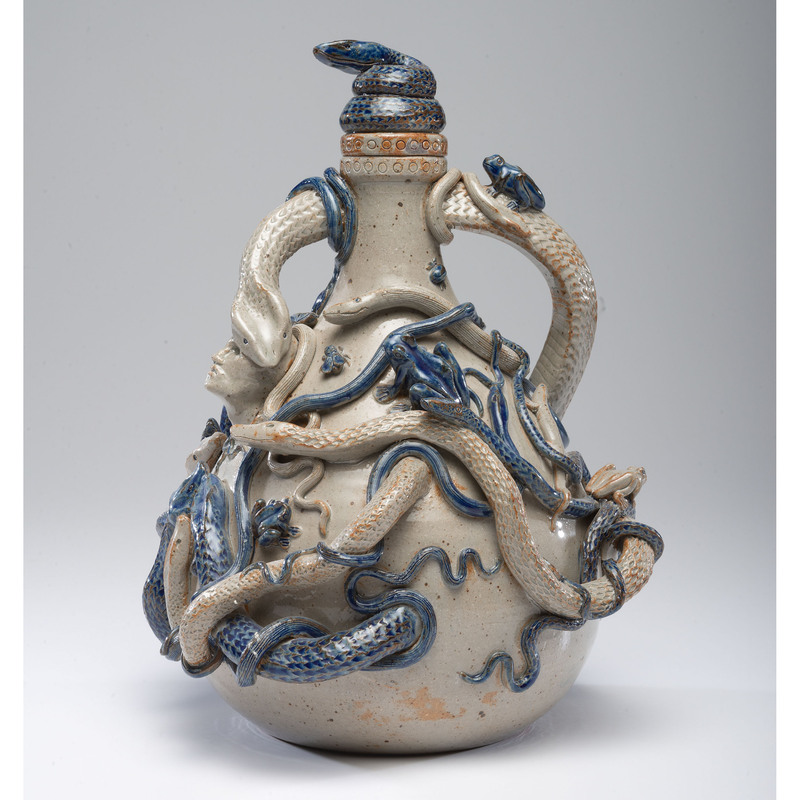 """A Fine Anna Pottery Style """"Temperance"""" Stoneware Jug by Brian Moore"""