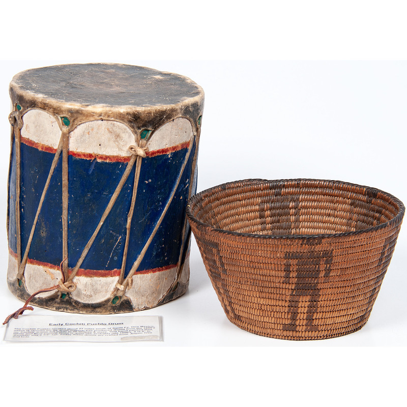 Cochiti Polychrome Drum AND Akimel O'odham Figural Basket, From the Collection of Judith & Gary Gay, Morrow, Ohio