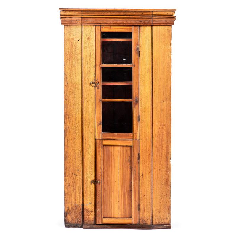 A Federal Walnut Hanging Corner Cupboard