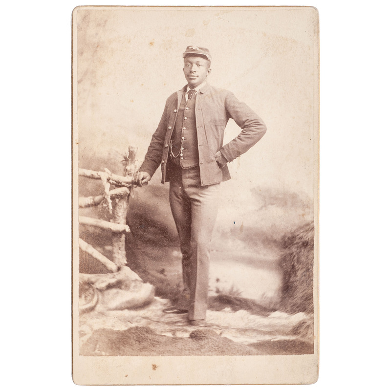 Buffalo Soldier Cabinet Card by O.S. Goff, Fort Custer, Montana, circa 1880s
