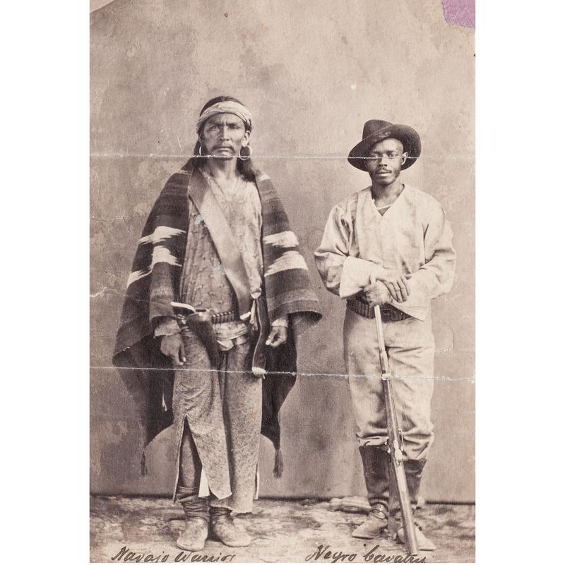 Navajo Warrior & Negro Cavalry, Arizona, circa 1887