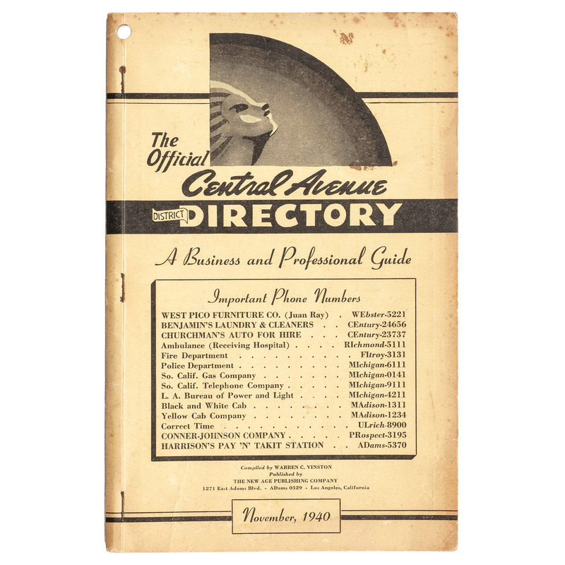 1940 Los Angeles The Official Central Avenue District Directory
