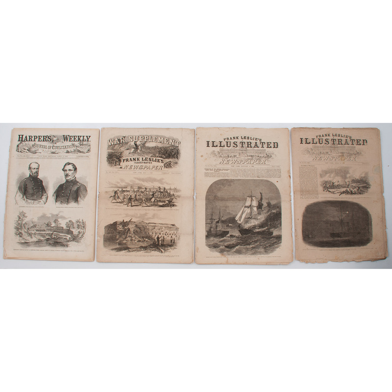 Civil War-Era Illustrated Newspapers, Leslie's and Harper's, Lot of 4