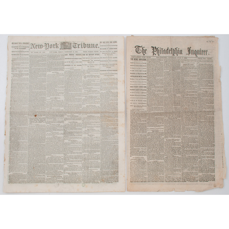 Late Civil War Newspapers Dating from 1864, Lot of 5