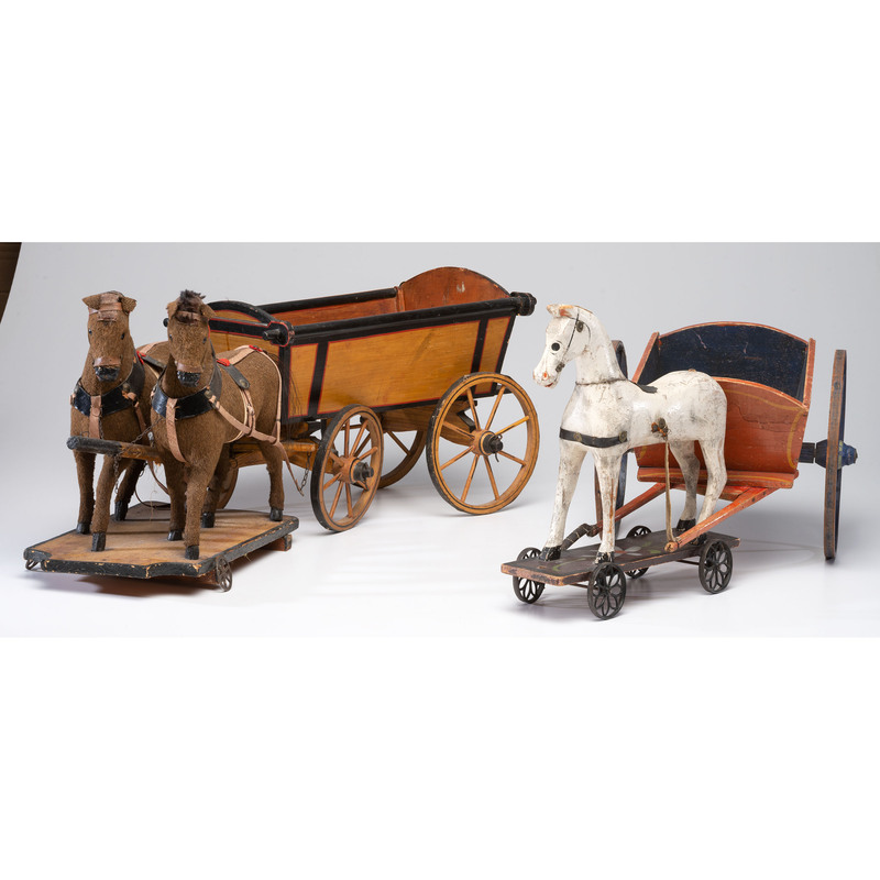 Two Painted Horse and Wagon Pull Toys
