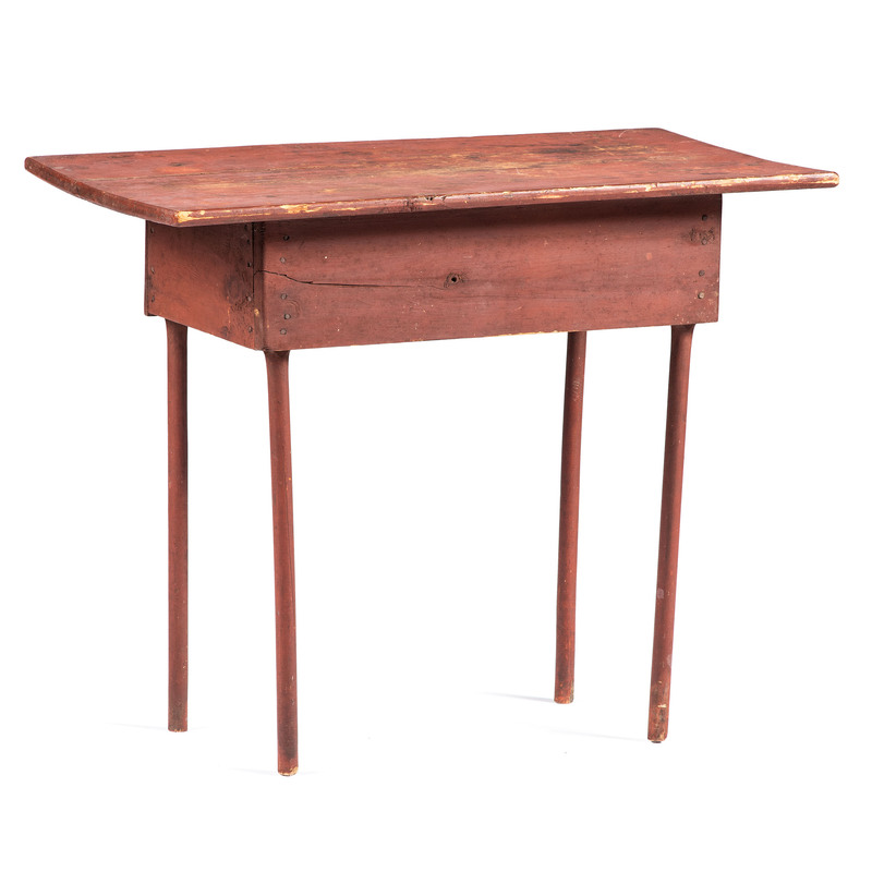 A Primitive Pine Work Table in Red Wash